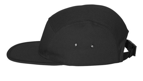 Yupoong - Jockey Flat Bill Cap, Black (Crown Five Panel Cap)