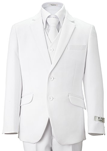 BJK Collection Big Boys' White Communion and Wedding 2 Button Suit 5 Piece 8 White by BJK Collection