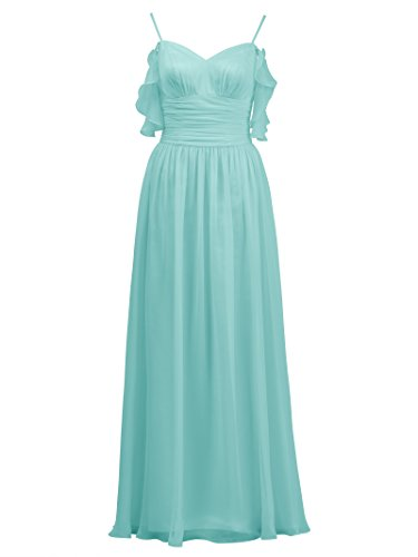 Ball Gown Evening Spaghetti Line A Prom Dress Chiffon Alicepub Bridesmaid blue Aqua Long Dress YSaBq6Tw