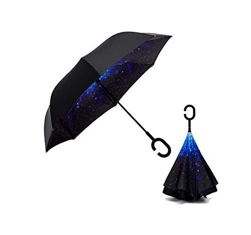 Semi-Automatic Vehicle Star Shade Umbrella Long Handle Umbrella (Star Blue, 106cm)