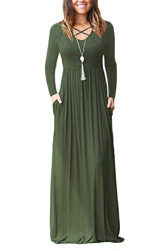 - INFITTY Women's Long Sleeve Loose Plain Maxi Dresses Casual V Neck Long Dresses with Pockets Army Green Small