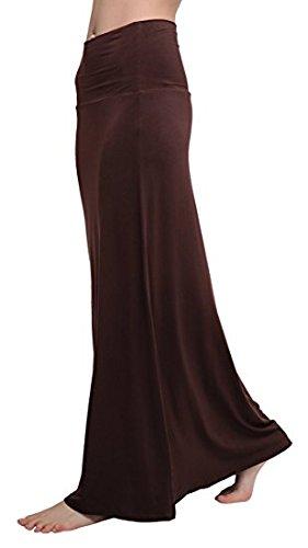 Urban CoCo Women's Stylish Spandex Comfy Fold-Over Flare Long Maxi Skirt (L, Rum Raisin)