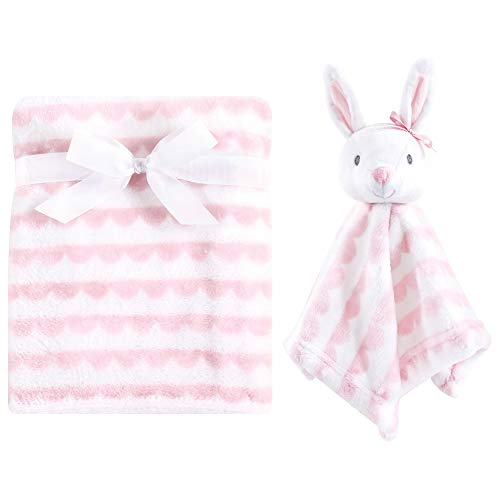 Hudson Baby Unisex Baby Plush Blanket with Security Blanket, Bunny 2 Piece, One Size ()