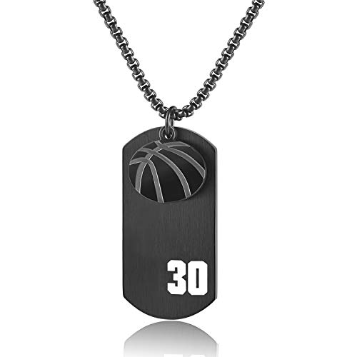 JHoly Men's Basketball Player Necklace Number 30 Dog Tag Pendant, Sports Charm Religious Necklace I Can Do All Things (Black)