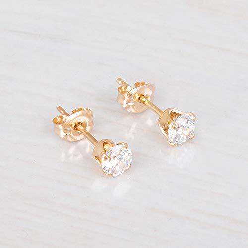 28a4b6488 Amazon.com: Gold Filled Zircon Diamond Stud Earrings - Small CZ Post  Earrings For Women - Size 4mm: Handmade