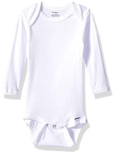 Gerber Baby 6-Pack Long-Sleeve Onesies Bodysuit, White, 18 - Onesies Sleeve 18 Long Month