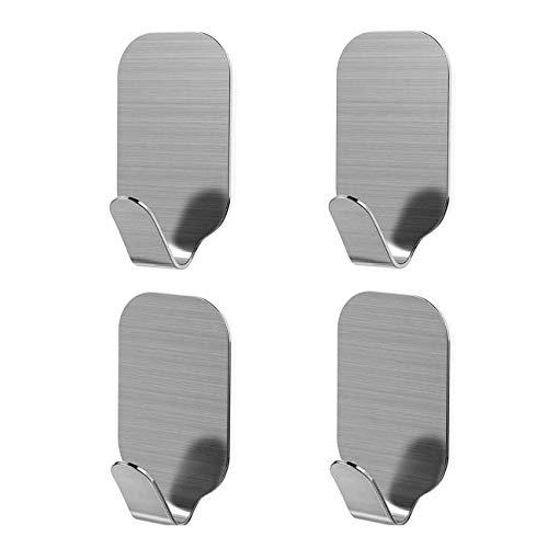 (GreatforU Towel Hooks Wall Hanging Hook Heavy Duty Strong Stainless Steel 3M Self Adhesive Stick On Hooks Waterproof for Home Bathroom Kitchen Refrigerator Door Keys Bags Robe Coat Sticker (4 Pack))