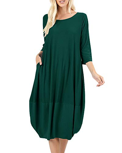 Sleeve Bubble Hem Dress - NiuBia Womens Bubble Hem Dresses 3/4 Sleeve Scoop Neck Knee Length Stitching Casual Dress with Pockets Green