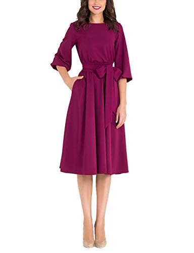 Womens Elegance Audrey Hepburn Style Dresses Round Neck 3/4 Sleeve Midi A-line Dress with Pockets (Mulberry, XL)