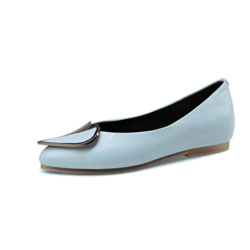 Women's Flat Clear Pumps Cozy Flat Handmade Blue Shoes Heel Toe Seven Pointed Nine Comfort 5xWwRqnAfC