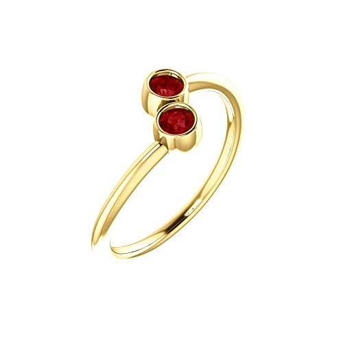 Bonyak Jewelry Lab-Created Ruby 14k Yellow Gold Chatham Created Ruby Two-Stone Ring - Size 7