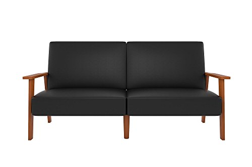 Novogratz Asher Sofa Futon with Multi-position Back in Faux Leather Upholstery, Wood Frame, Black - Practical and stylish mid-century convertible sofa with multi-position Back Perfect small space solution Convertible futon Sleeper is ideal for sleeping, sitting and lounging - sofas-couches, living-room-furniture, living-room - 31QFs2HaNqL -
