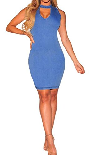 Butt Blue CMC Lift Skinny Stylish Sleeveless Womens Dress Cut Denim Off Stretch 1wxZqT1