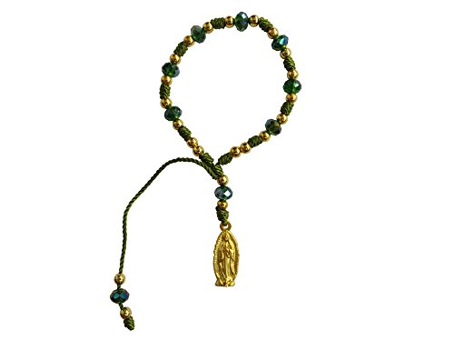 Green Mexican Bracelet - Angelitos de Mexico Green Thread with Cristal Beads Our Lady of Guadalupe Bracelet Pulsera De La Virgen De Guadalupe