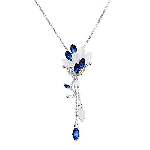 Women's Crystal Blue Tulip Flower Necklace Elegant Long Sweater Tassel Pendant Long Chain Necklace Fashion Jewelry for Women and Girls (Blue Flower Necklace) ()