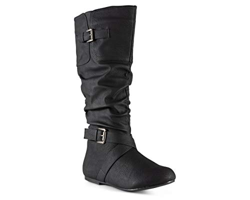 Twisted Women's Faux Leather Wide Width Slouchy Buckle Strap Mid Calf Boots - VAN0109P Black, Size -