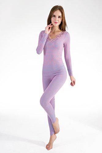 OYBY Women's Lace Stretch Seamless Thermal Underwear Set (snob)