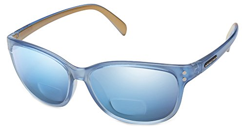 Suncloud Flutter Polarized Bi-Focal Reading Sunglasses in Periwinkle with Blue Mirror Lens +2.00