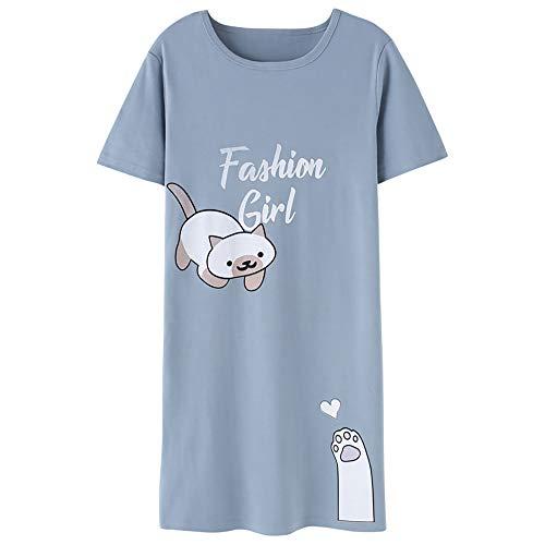 Jersey Nightshirt - Jashe Tweens/Teens Nightgown - Short Sleeve Cute Cat PJS Nightshirt Big Girls Size 12 Blue