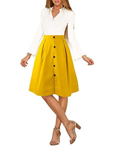 Blooming Jelly Womens Button Up Skirt A Line Elastic Waist Pockets Midi Length Pleated Zipper Midiskirt(Medium,Yellow) (Detail Pleated Skirt)