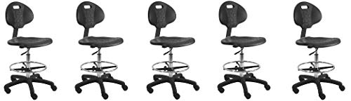BenchPro Urethane Tall Chair with Footring and Single Lever Control – 22 -32 Adjustable Height x 18.5 Width x 18.0 Length – Black 5- Pack