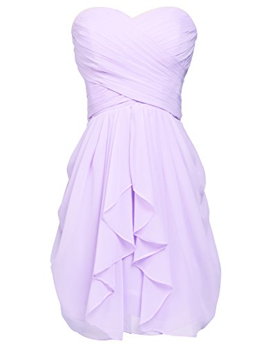 Prom Dresses Short Chiffon Sweetheart Graduation Party Cocktail Gowns Lilac US2 ()