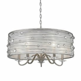 Golden Lighting 1993-5 PS Chandelier with Sterling Mist Shades, Peruvian Silver Finish Sterling Silver Lighting