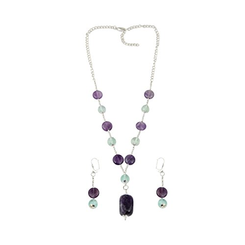 Fluorite Necklace Set (Amethyst Green Fluorite Beaded Necklace and Dangling Earrings Trendy Fashion Jewelry Set for Women)