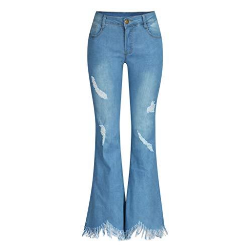 LiLiMeng 2019 New Women High Waist Hole Jeans Button Tassel Pants Trousers Bell-Bottom Pants Flare Pants Raw Material Hem Blue