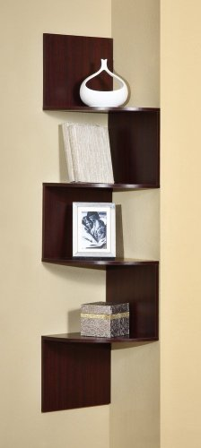4D Concepts Hanging Corner Storage, Cherry (Wood Corner Bookcase Cabinet)