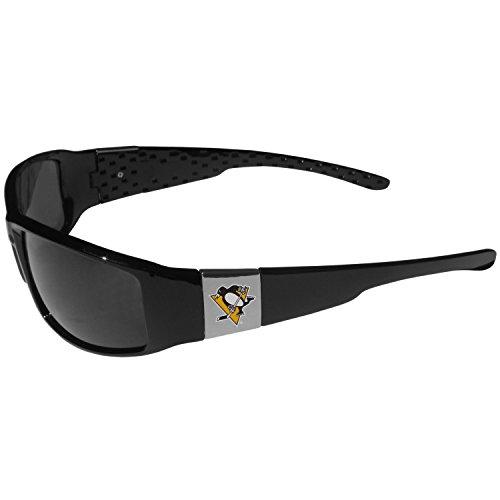 (NHL Pittsburgh Penguins Chrome Wrap Sunglasses, Black, Adult Size )