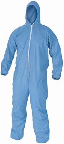Overol desechable traje de protección con capucha 2 extra grandes azul paquete de 25