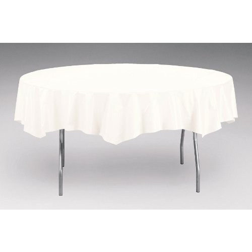 - Creative Converting Octy-Round Plastic Table Cover, 82-Inch, White