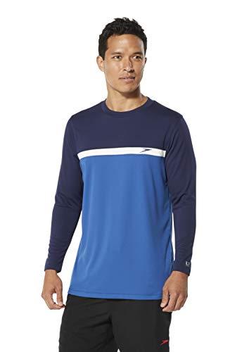 Speedo Colorblock Long Sleeve Swim Tee, Classic Blue, Large ()