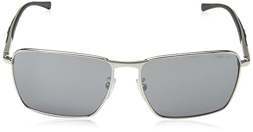 Palladium Smoke Mirror Lunette Silver 1 Police Big Homme S8966 de soleil Rectangulaire Match Shiny Frame Lens 7dx6vBd