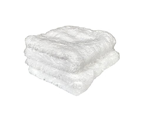 Real Clean Fantasy Facial Plush Microfiber Face and Hand Wash Cloth Towel for Exfoliating, Washing & Cleansing Pores Easily Removes Makeup, Oil & Dead Skin Cells 12x12, White (2 count ()