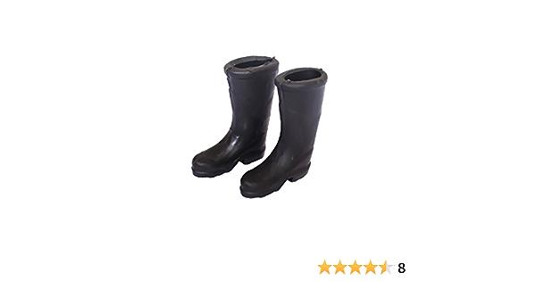 Black Rubber Rain Boots 1:12 Dollhouse Miniature Bedroom Furniture Accs Toys
