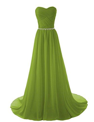 Green 36 Bridesmaid Chiffon Women's Evening Dresses Long Aurora Bridal Gowns AB018 Formal Army qP1SnT