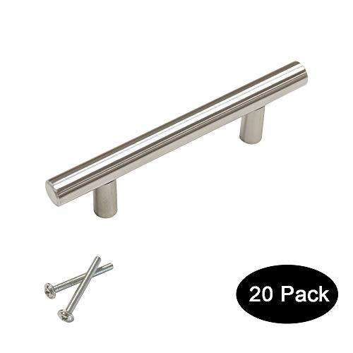 20 pack 76mm(3inch) Hole Centers Stainless Steel Kitchen Cabinet Door Handles and Pulls Cabinet Knobs Length 127mm(5inch) Brushed Nickel