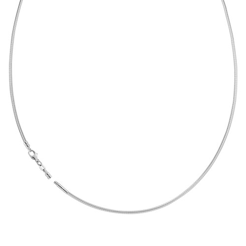 14K White Gold Ladies Round Omega Chain Necklace 1mm 16