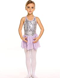 Arshiner Girls Sequined Camisole Ballet Dance Leoatards Dresswith Spark Tutu Skirt