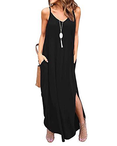 Jacansi Womens Casual V Neck Strappy Maxi Dress Loose Beach Cami Long Dress Black XL