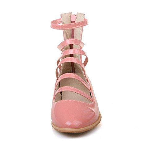 Mujer RAZAMAZA de Pink Cremallera Bajo Zapatos Tacon Para con 0vqP60