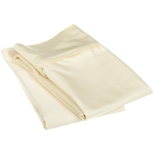1200 Thread Count 100% Egyptian Cotton, Soft and breathable, 2-Piece King Pillowcase Set Solid, Ivory (Discount Pillows)