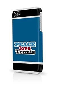 Blue Peace Love Tennis iPhone 5 & 5S - Fits iPhone 5 & 5S Full Print Plastic Snap On Case