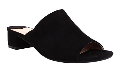Schuhe K49 Faux SHU CRAZY Sandalen Peeptoe Sommer Mode Schwarz Slip Ferse Wildleder Low Block Damen on Damen HW6WT