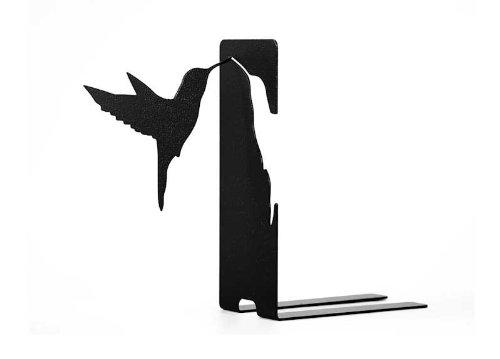 MODE Elegant Black Hummingbird Laser Cut Steel Decorative Bookend (Large Image)