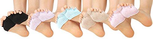 Lovful Womens 5 Pack Toe Toppers Socks Toe Separating Socks No-Show Half Socks