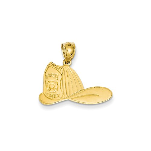ICE CARATS 14k Yellow Gold Large Firefighter Hat Pendant Charm Necklace Career Professional Fine Jewelry Ideal Mothers Day Gifts For Mom Women Gift Set From (14k Firefighter Pendant)