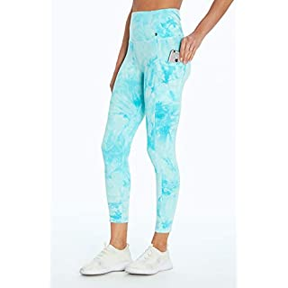 Marika Cyndi High Rise Pocket Ankle Legging, Tie Dye Marble Angel Blue, Large